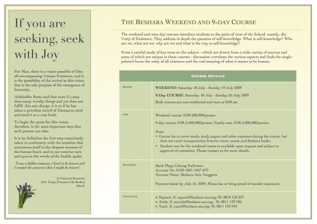 Beshara - 9-day Jul 2009 - Brochure - 02
