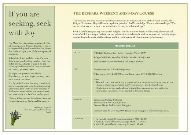 Beshara - 9-day Jul 2009 - Brochure - 02