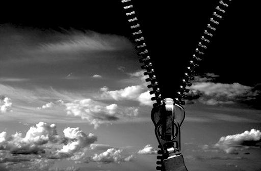 zipper concept. black beyond the sky